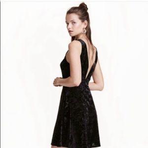 H&M Velvet Black V-back dress Size 8